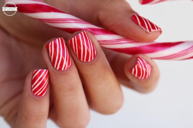 Nail art Noël candy cane